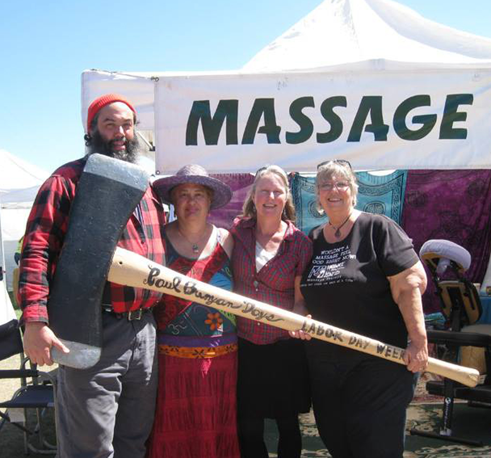 Craft Fair pic with Paul Bunyan at massage booth